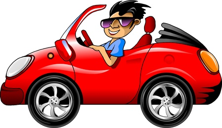 racing wheel: young man in dark glasses driving a red sports car  illustration ;