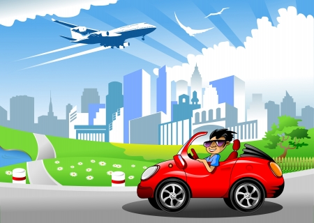 land vehicle: over the town blue and green meadow blue airplane flying;