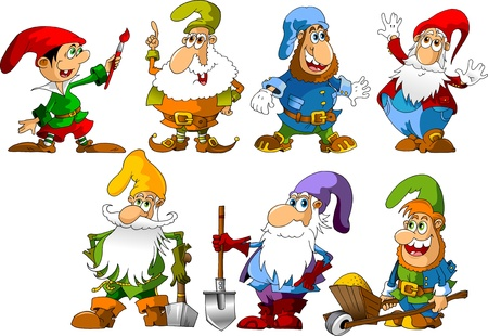 collection of dwarfs of different ages and occupations  illustration ;  Vector