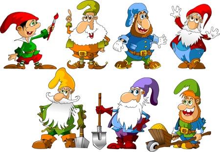 verzameling van dwergen van verschillende leeftijden en beroepen illustratie;
