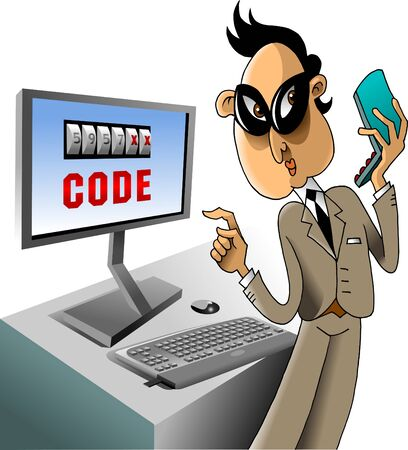 swindler: Hacker breaks the code on the computer using a mobile phone  vector ;  Illustration