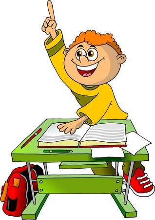 schoolchild: student in the class wants to answer the question of the teacher  illustration ;