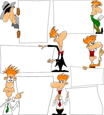 cheerful man talking in his hands poster  vector illustration ; Illustration