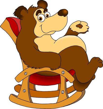 grappige beer zittend in een schommelstoel vector illustratie;