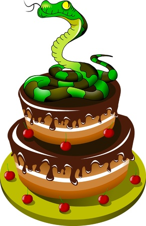 green snake curled into a ball on a chocolate cake  illustration ; Vector
