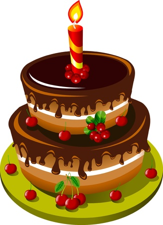 chocolate cake decorated with cherries and a single candle  illustration ;  Vector