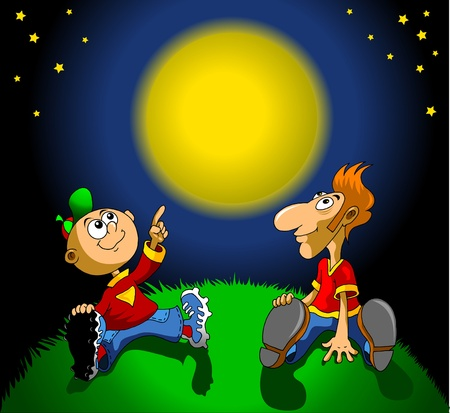 Father and son are considering the moon in the night sky  illustration ;  Vector