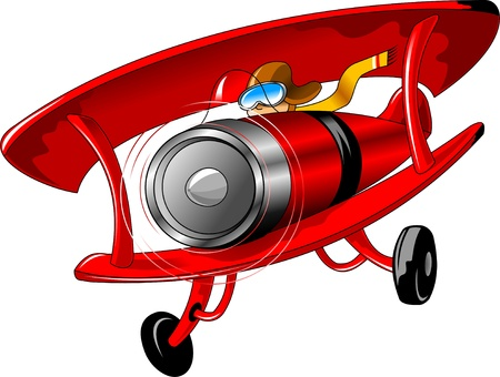 vintage red airplane with a pilot in a yellow scarf  illustration ;  Vector
