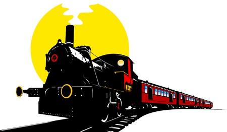 sante: old american train cars with red and black locomotive  illustration ;