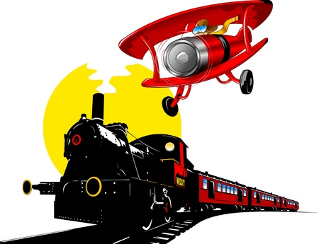 vintage black train and old red plane  illustration ;  Vector