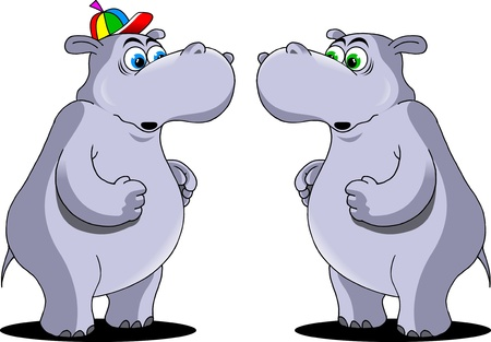 two behemoths with surprise at each other   Stock Vector - 14957103