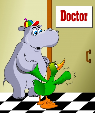 doctor tablet: Duck leads to a doctor friend of his hippopotamus