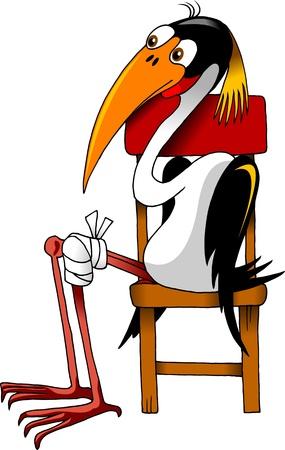 cigue�a: Crane paciente con una fractura de rodilla sentado en una silla en la sala de espera del m�dico Vectores