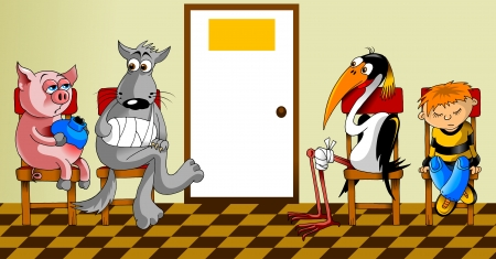 sick animals and people sitting in the waiting room at the doctor   Vector