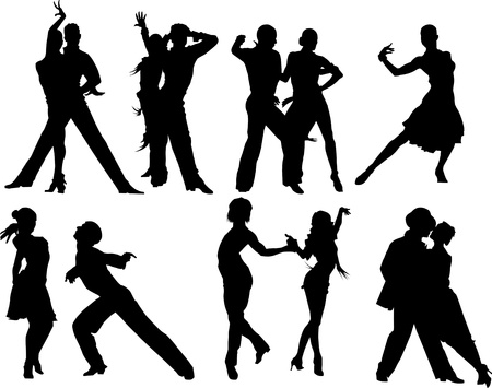 ballroom dancing: couples dancing sports dancing  vector illustration ;