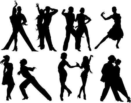 baile latino: parejas bailando el baile deportivo ilustración vectorial;