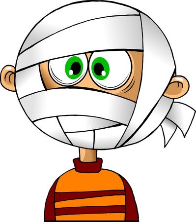 bandage: child with a bandaged head bandages  vector illustration ;