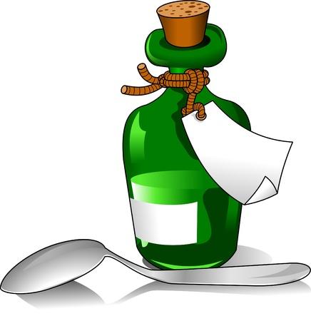 veneno frasco: Verde botella de la medicina y una ilustraci�n vectorial cuchara peque�a;