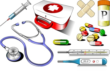 Medical equipment on white background  illustration - vector ; Çizim