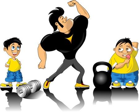 circular muscle: human figure body builder lifting a dumbbell set inside a circle