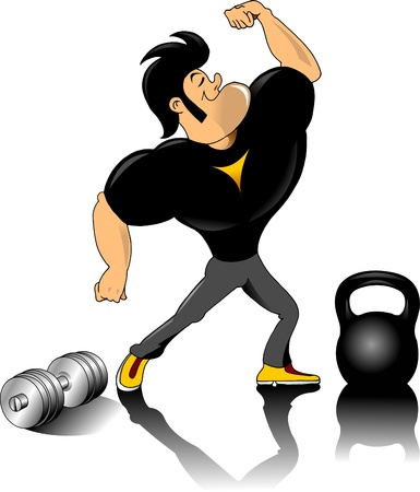 gym equipment: corpo umano costruttore figura alza un set manubri in un cerchio
