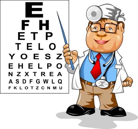 かわいい男性医師 - 眼科視力;、テスト用テーブルをポイント  イラスト・ベクター素材