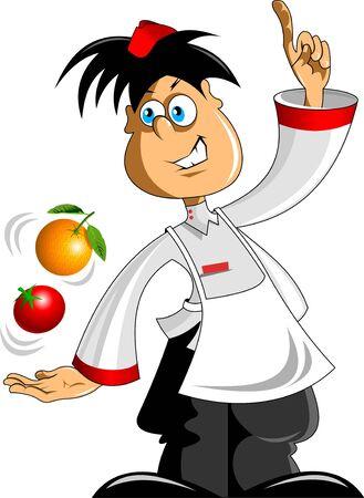 socializando: vendedor promociona las frutas y hortalizas Vectores