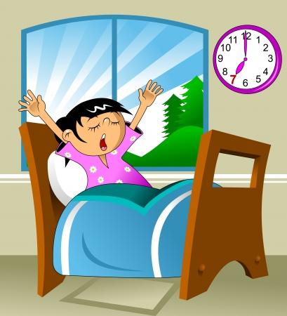 dormir habitaci�n: La ni�a se despert� en un camis�n y bosteza, ilustraci�n vectorial, Vectores