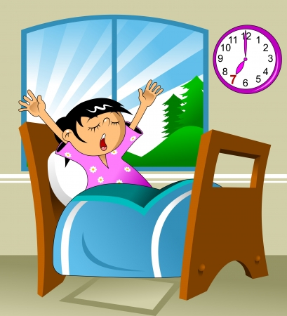 Little girl woke up in a nightie and yawns; vector illustration;  Vector