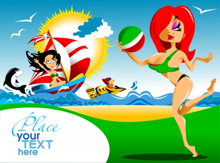 Beautiful girl playing volleyball at the beach  vector ; Stock Vector - 16061912