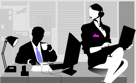 sexy business woman: Office workers sitting at the table and working on computers;