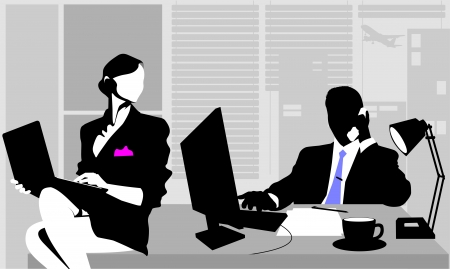 Office workers sitting at the table and working on computers;  Stock Vector - 16061913