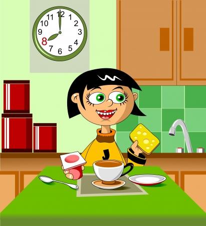 Dziewczynka ma śniadanie z jogurtu i wektora kanapek;
