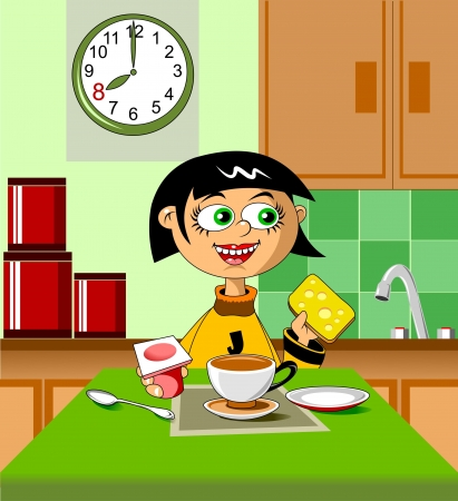 children eating fruit: The little girl has breakfast with yogurt and a sandwich  vector ;