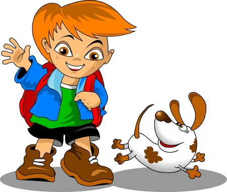 Schoolboy in a hurry to school with a dog  Stock Vector - 16137783