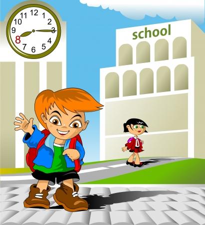 少年は巨大なバックパックが付いている学校に行く