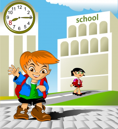 Schooljongen gaat naar school met een enorme rugzak Stock Illustratie