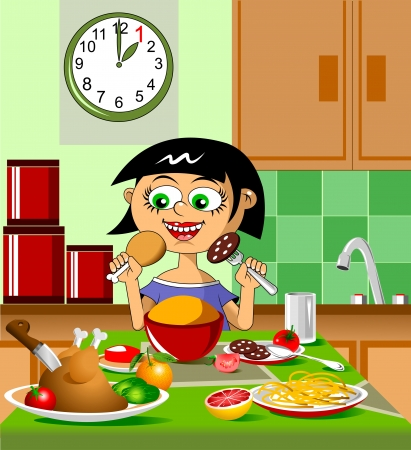 The girl at the dinner table with appetite eats chicken; Stock Vector - 16234544