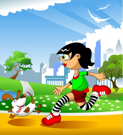 female athlete: illustration of a girl running on the road  vector ;