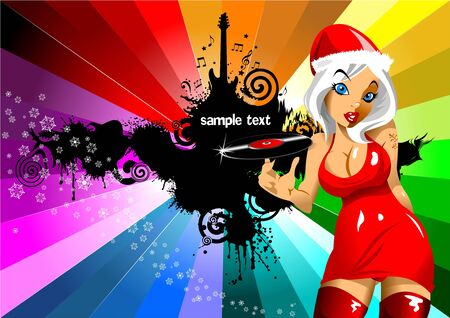 woman pose: new invitation to the Christmas party  vector illustration ;
