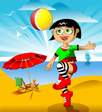 little girl playing on the beach with a ball  vector illustration ;  Stock Vector - 16476078