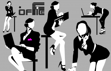 listeners: collection businesswoman at different working for the office;  Illustration