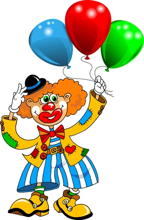 joker: cheerful clown playing with balloons  vector ;