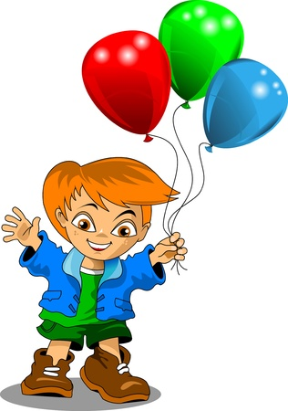 little boy with colorful balloons  vector illustration ; Stock Vector - 16667279