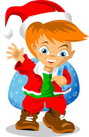 little elf brought Christmas gifts to children  vector ; Stock Vector - 16667282