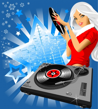pinup: invitation to the Christmas party  vector illustration ;  Illustration