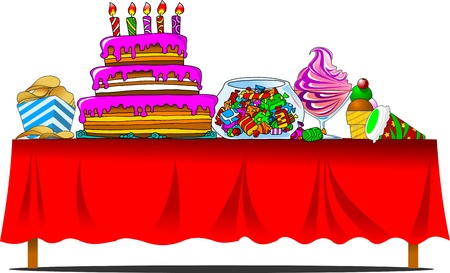 holiday food: banquet table with cake and sweets  vector illustration ;