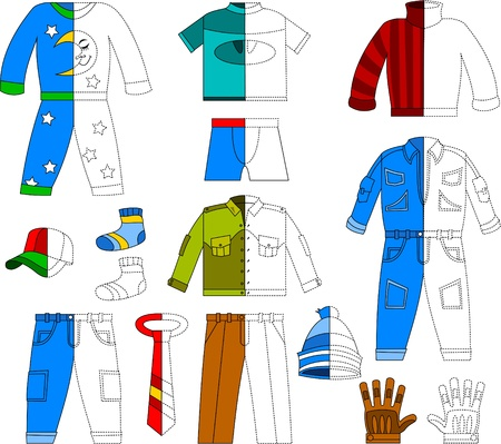 pajamas: various clothes for boys and men   illustration
