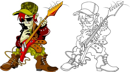 beginner guitarist plays solo on electric guitar  illustration ,