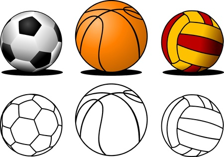 collection of colorful, sports balls   Vector